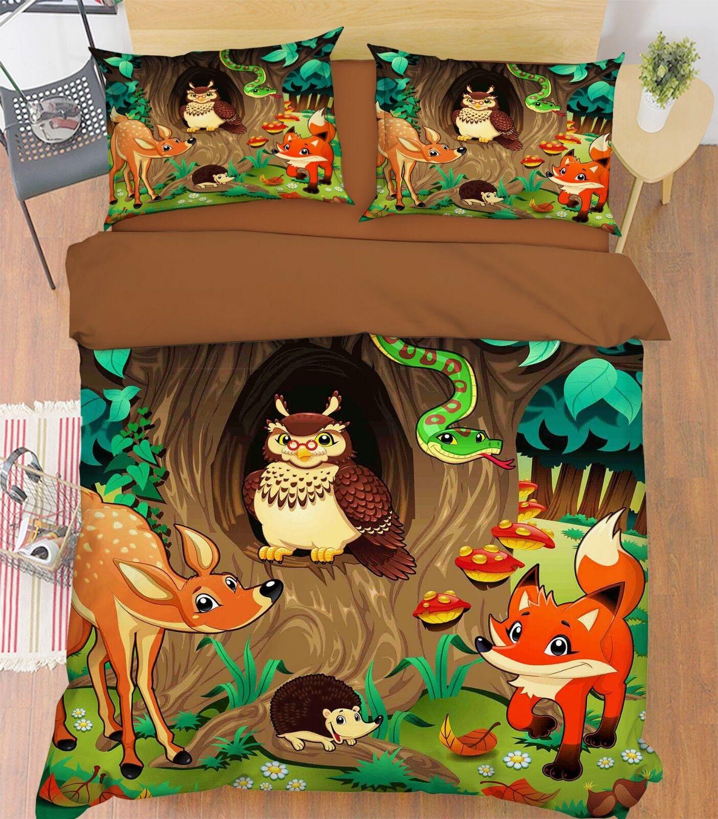 3D Jungle Animals 57 Bed Pillowcases Quilt Duvet Cover Set Single King UK Summer