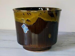 Vintage California Originals 471 Planter Brown Green Drip Glaze, USA Torrance CA