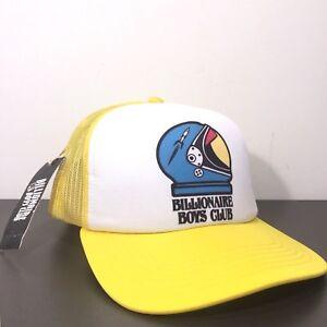 BILLIONAIRE BOYS CLUB Yellow White Space Helmet Logo Snapback Mesh Trucker Hat