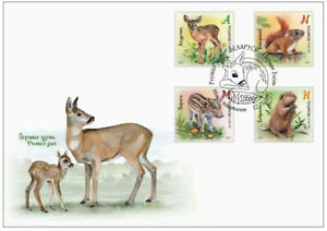 Belarus-2021-Children-philately-Wild-baby-animals-FDC