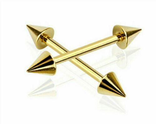 Barra de Ceja Acero color oro anodizado Pendiente Oreja Tragus Piercing 16g 8 mm