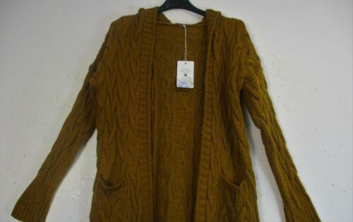 Lagenlook à Capuche en Tricot Torsadé Chunky Open Front Cardigan poches taille correspond à 12-16