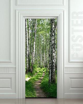 Door STICKER wood trees forest birch way nature path mural decole film
