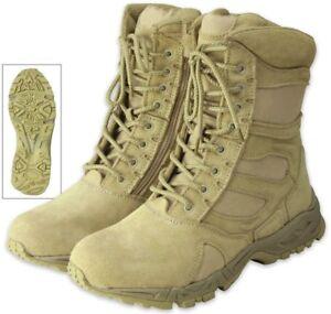 Image is loading Desert-Tan-Side-Zipper-Deployment-Combat-Boots 88e49383111