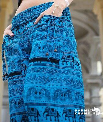 Harem Elephant Pants Hippie Blue Yoga Festival Aladdin Gypsy Loose Boho Comfy