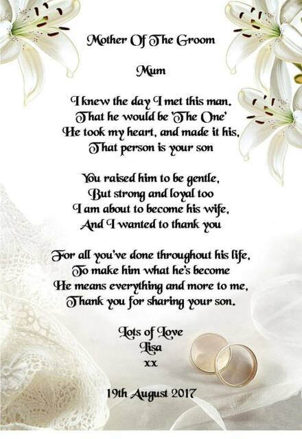 Wedding Day Thank You Gift Mother Of The Groom From Bride Poem A4 Photo