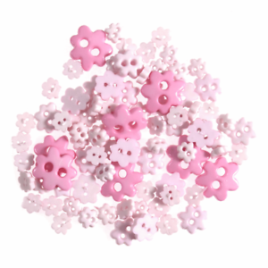 Flower Shaped Micro Mini Buttons Trimits Paper Craft Pinks