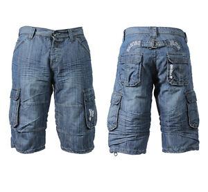 New-Mens-Enzo-Denim-Shorts-Multi-Pockets-Cotton-Cargo-pants-Combat-Summer-28-42