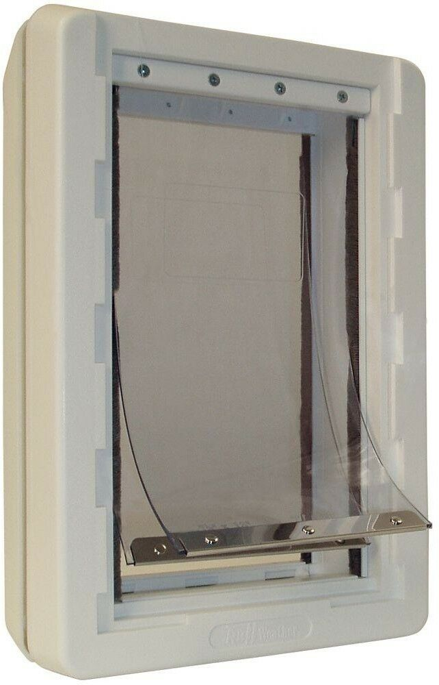 Dog Door Ideal Pet 9.75 in. x 17 in. Extra Large Ruff Weather Frame Dual Flaps