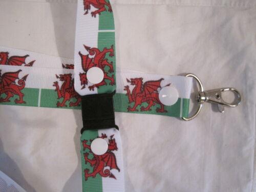 welsh dragon lanyard breakaway handmade 2 sizes ID badge ribbon kid flag rugby
