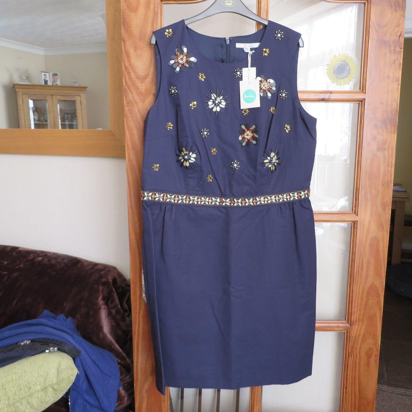 Boden Navy Embellished floral dress size 18r BNWT