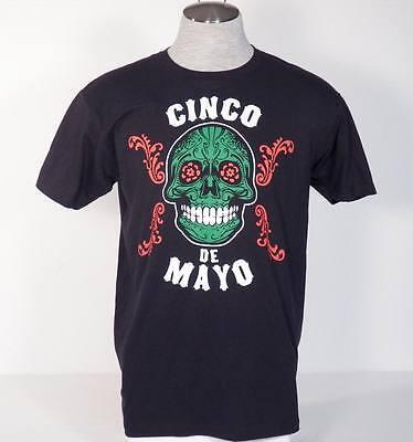 Ripple Junction Cinco De Mayo Skull Graphics Black Tee T Shirt Mens NEW