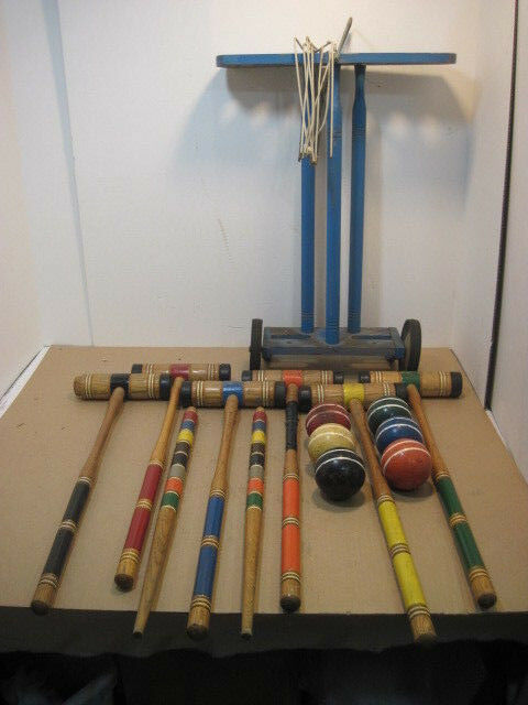 OLD VINTAGE 6 PERSON WOOD CROQUET SET OUTDOOR SPORT GAME COMPLETE