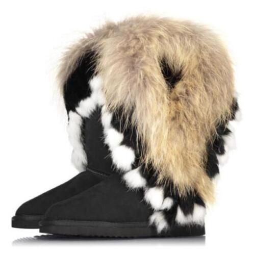 2018 Fellstiefel Damen Boots Echtleder Hoch Winter Fell Stiefel Pelz Schuh Leder