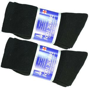 3-12-Pairs-Health-Diabetic-Circulatory-Socks-Mens-Crew-Cotton-9-15-Long-BLACK