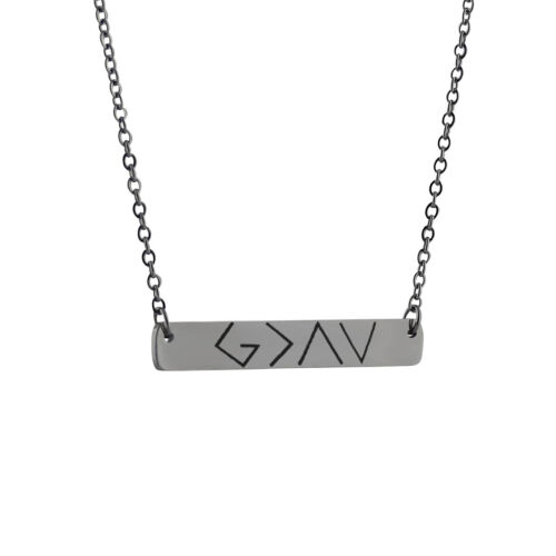 Stainless Steel Necklace Symbols Faith God is Greater Than the Highs and Lows