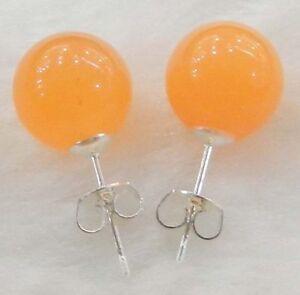 New-10mm-Jewelry-Orange-Jade-amp-Sterling-Silver-Stud-Earrings