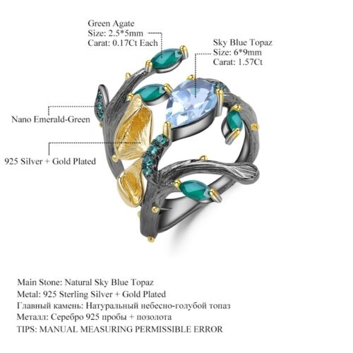 Natural Sky Blue Topaz Solid 925 Sterling Silver Butterfly on Branch Ring