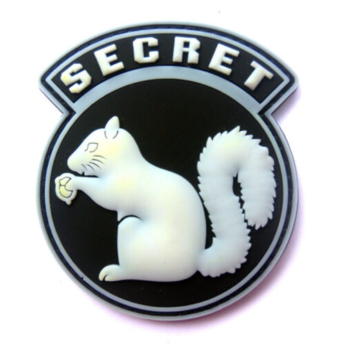 Glowing 3D PVC TOP SECRET SQUIRREL BLACK OPS Tactical Morale Hook Patch Badge