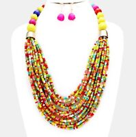 Multi Color Yellow Red Pearl Multi Layered Bead Chunky Jewelry Necklace Set