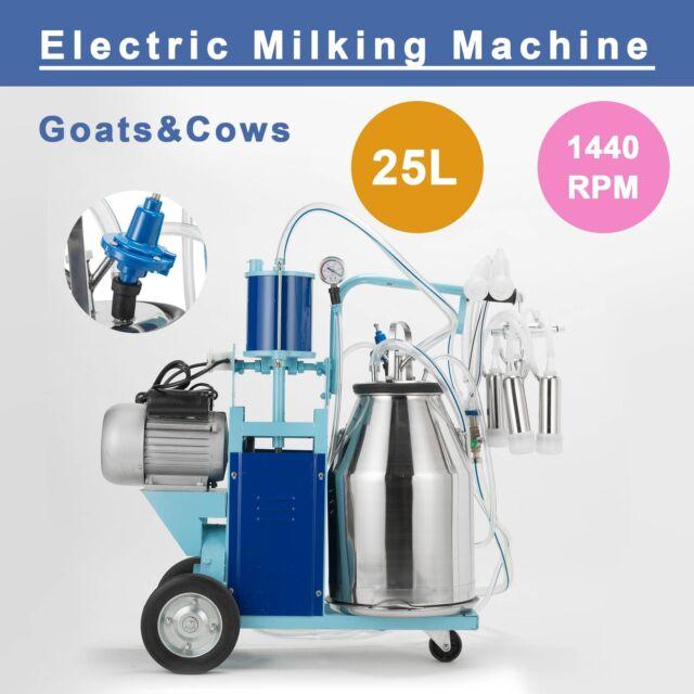 Electric Vacuum Pump Milking Machine For Farm Cows 25L Bucket+Portable Wheels