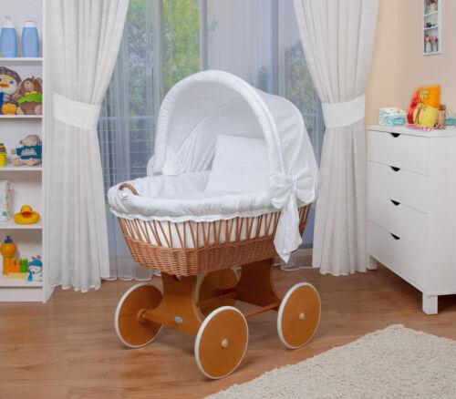 WALDIN Baby Bollerwagen,Stubenwagen komplett mit Zubehör Weiß XXL NEU !!