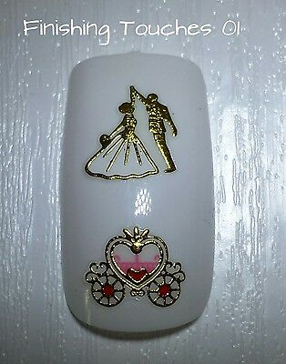 Nail Art Sticker- Gold Decal #345 TJ090 Transfer Shiny Metallic Carriage Wedding