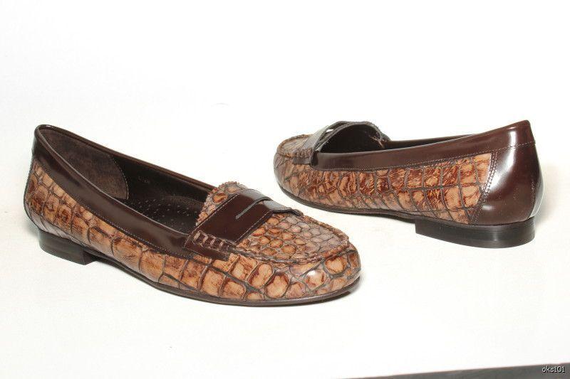 NEU VANELI dark Braun croco penny loafers schuhe 6.5