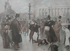 1897 Large Antique Print - Children Ice Skating in Place de la Concorde, Paris