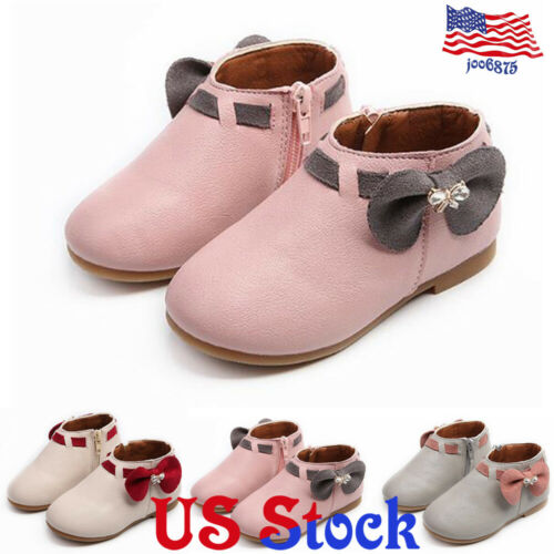 Toddler Kids Girls Bow Side Zipper Warm Ankle Boots Winter Flat Princess Shoes