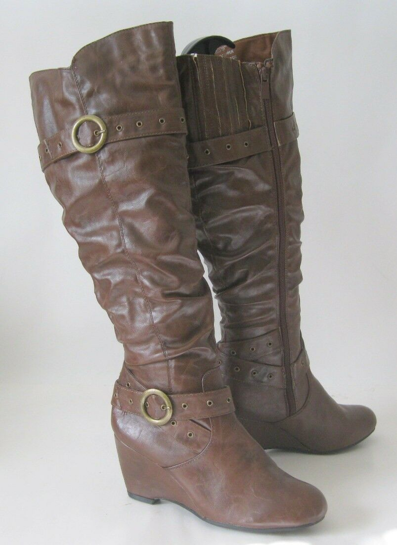 Brown 3 Wedge Heel Comfortable Sexy Knee Boot Ankle Straps Size 6.5