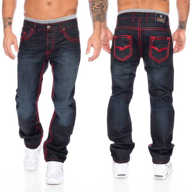 Rock Creek herren designer denim jeans hose dicke zier nähte W29 W44 NEU RC 2092