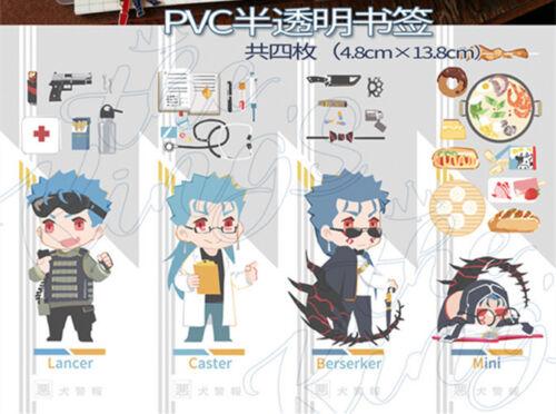 FGO Fate//Grand Order Alter Cu Chulainn PVC transparent Bookmark Book Mark 4pcs B