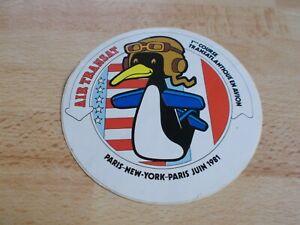 Autocollant-AIR-TRANSAT-1ere-course-transatlantique-en-avion-Paris-New-York-1981