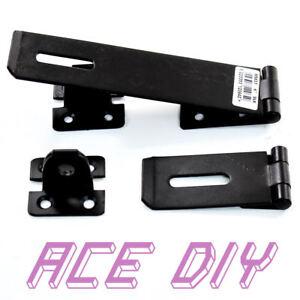 Hasp-amp-Staple-Lock-Black-Heavy-Duty-Secure-Door-Latch-Gate-Shed-Garage-Barn
