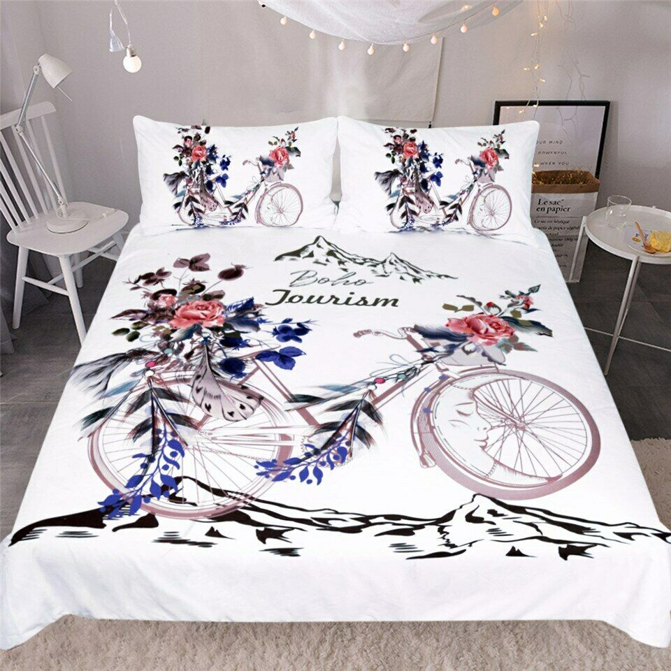 Boho Bicycle Mountain Floral Moon Double Single Quilt Duvet Pillow Cover Bed Set