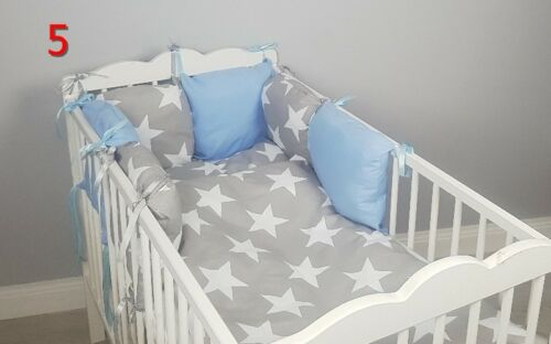 8 pc cot//cot bed bedding sets PILLOW BUMPER CASES stars blue grey pink nursery