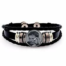 bracelet cuir noir johnny hallyday