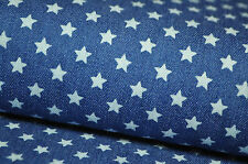 JEANS Stoff Stretch 50cm x 1,45m Pumphose STERNE STERN STARS STAR DENIM VINTAGE