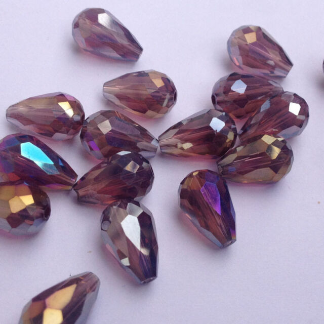 20pcs 8x12mm Teardrop Glass Faceted Loose Crystal Spacer Beads purple RED AB,new