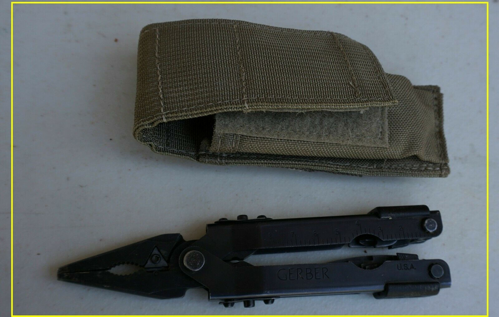 Lot  of 2 Army Gerber Multi tools, 1 excellent, 1 damaged  (LOC = k-5)  honest service