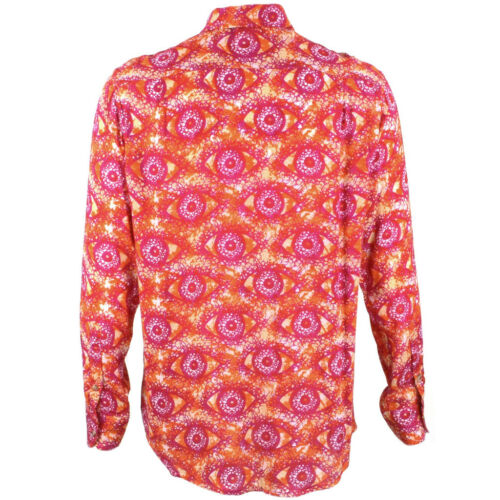 Mens Loud Shirt Retro Psychedelic Festival Party Funky Abstract Red REGULAR