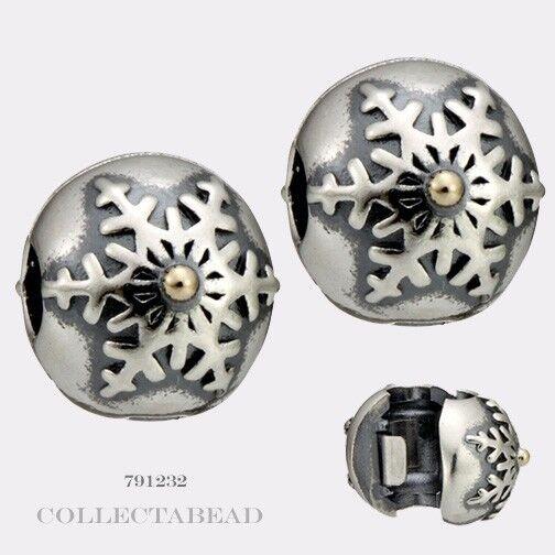 Authentic Pandora Silver & 14K Gold Winter Wonderland Clips (2)  791232 LAST SET
