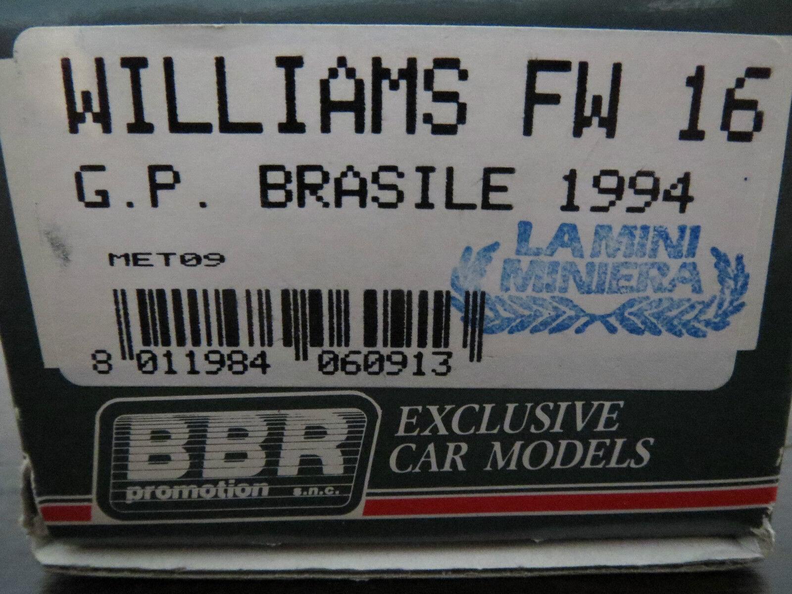 Highlumière   BBR Williams FW 16 Kit by La Mini Miniera    MEGA RARE  Boxed  commandez maintenant avec gros rabais et livraison gratuite