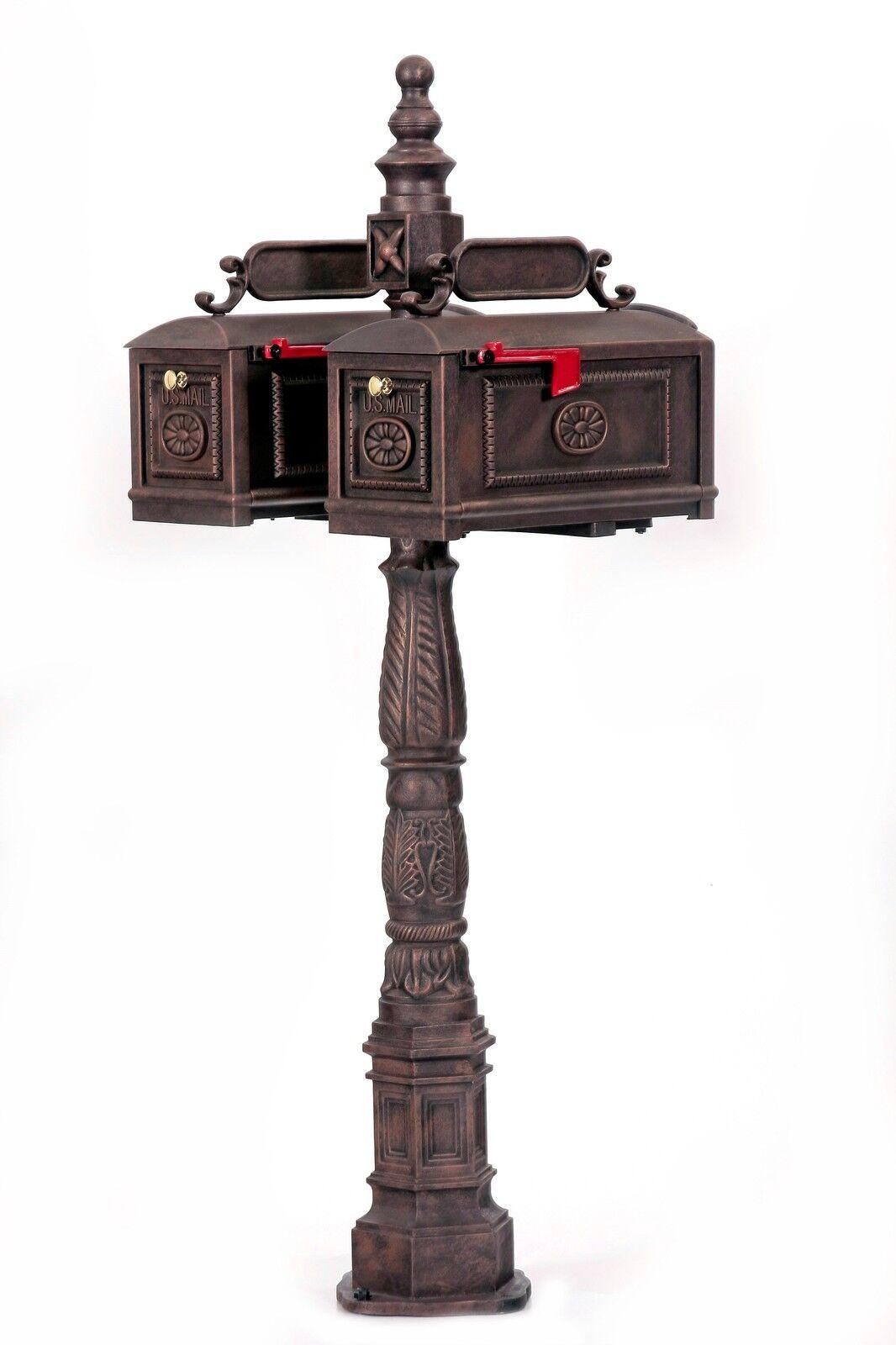 BBD-R Better Box Mailboxes - DOUBLE- Mail Box BRONZE Decorative Cast Aluminum