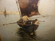 Nice antique 19th Italian Venetian school oil painting boats kids fishing scene