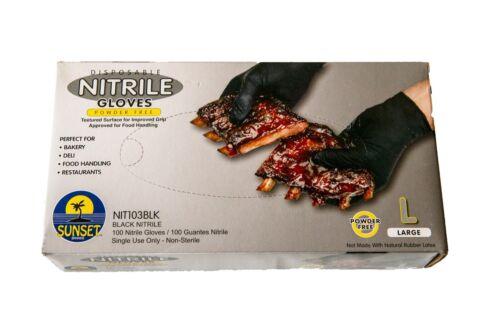 Disposable Nitrile Gloves 100 Gloves Large Black Powder Free