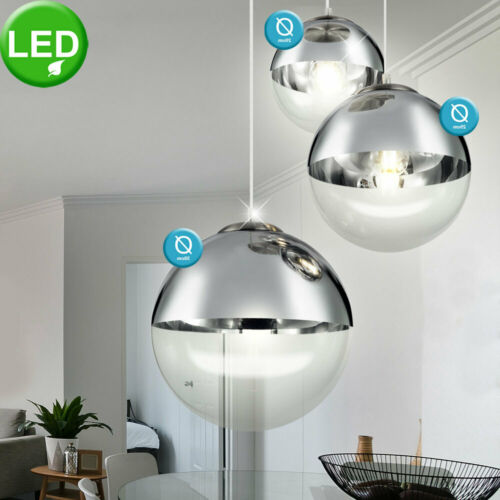 LED Glas Hänge Leuchte Kugeln transparent Chrom Decken Lampe Pendel Strahler