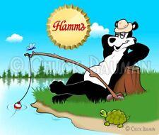 Fridge Magnet Hamm's Beer Bear Fishing sky blue waters beer mascot bar art decor