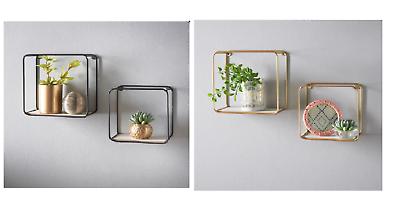 Gold Stylish Tromso Metal Framed Set of 2 Small Large Shelves